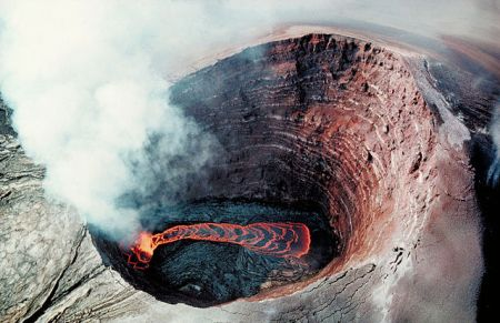 Aerial view of lava lake in Pu'u 'O'o crater,  Kīlauea, Hawaii