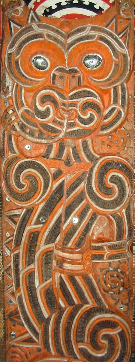 Image:  The Taniwha shown on a carved house post from the inside of a Ngati Maru meeting house.  New Zealand.  Wikipedia.