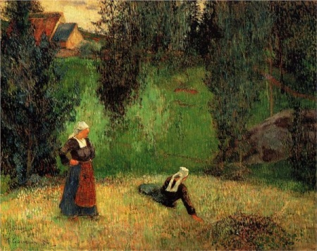 Paul Gauguin. The First Flowers, 1888. Wikipaintings