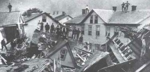 Desstruction of Lower Johnstown, PA, USA, after the Great Flood 0f 1889. Wikipedia.