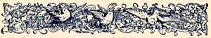 Birds and scrolls printer's ornament.  Graphics Fairy