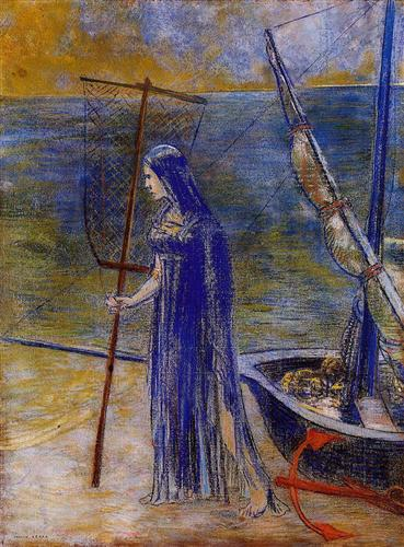 Odilon Redon.  The Fisherwoman, 1900. WikiArt.