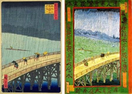 Sudden Shower on the Great Bridge. Hiroshige and Van Gogh.
