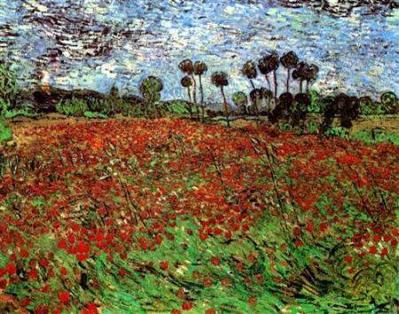 Vincent Van Gogh.  Field with Poppies, 1890. WikiArt.