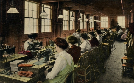 Sewing gloves in New York.  Postcard.