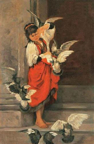 Polychronis Lembesis.  The Girl with Pigeons.  WikiArt