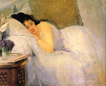 Eva Gonzales. Woman Awakening, 1876. WikiArt.
