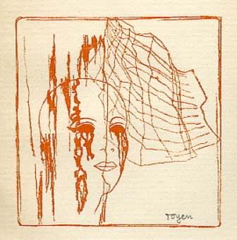 Toyen. A Girl's Head Behind Spider Web, 1934.