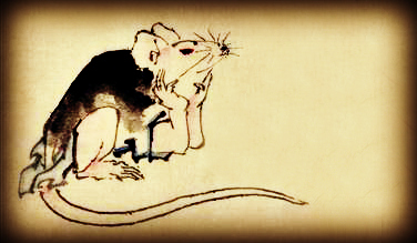 Hokusai. Two Mice. Cropped. Mouse.