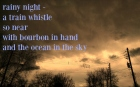 rainy night train whistle tanka haiga